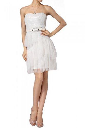BCBG WHITE SILK TIERED BUSTIER COCKTAIL DRESS