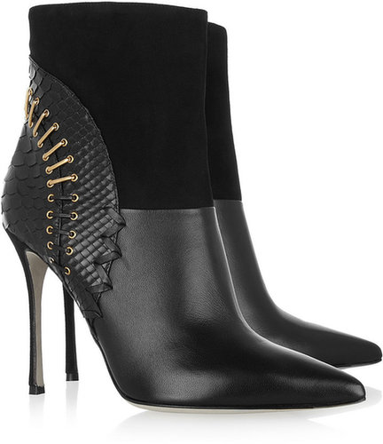 Sergio Rossi Leather, suede and snake boots
