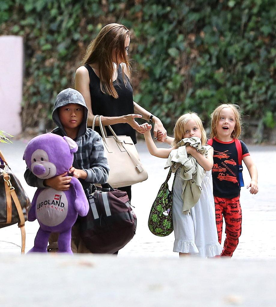 Angelina Jolie walked with Pax, Knox, and Vivienne through Santa Barbara.