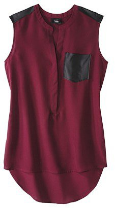 Mossimo® Women's Sleeveless Blouse w/ Faux Leather Trim -Assorted Colors