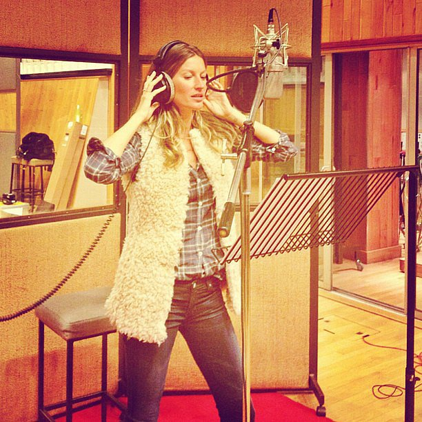 """Gisele Bündchen hit the studio to record a song for charity —a cover of The Kinks' """"All Day and All of the Night."""" Source: Instagram user giseleofficial"""