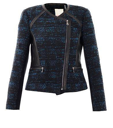 Rebecca Taylor Leather trim boucle jacket