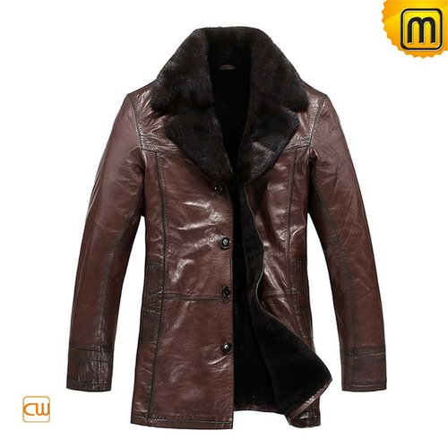 Mens Brown Fur Leather Coats CW819466—jackets.cwmalls.com