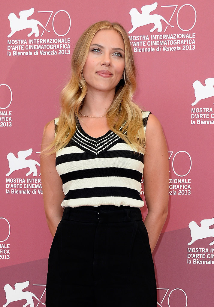 Scarlett Johansson's graphic monochrome stripes needed no accessories.