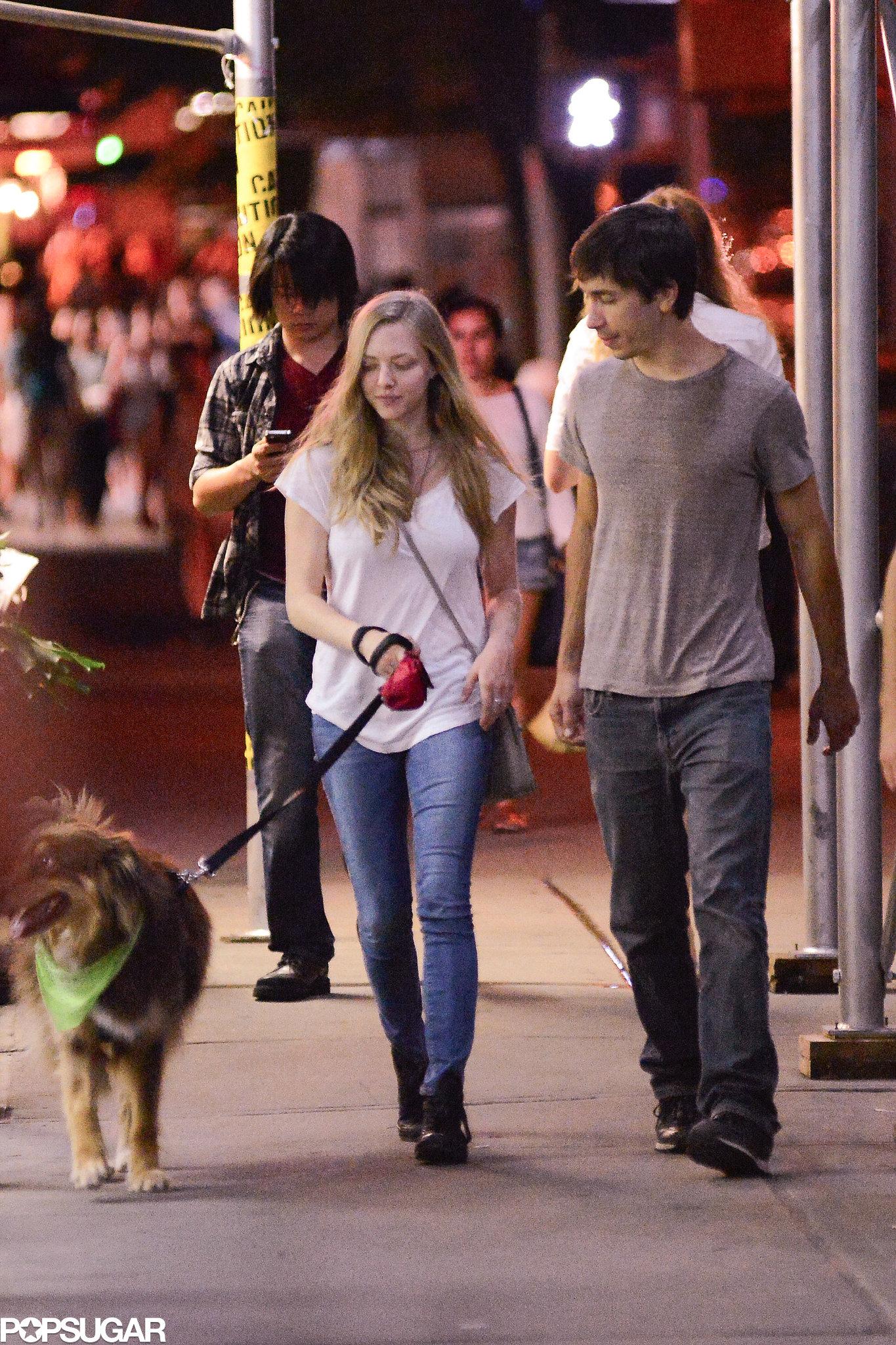 Justin Long Plants a Kiss on Amanda Seyfried — and Her Dog Finn!