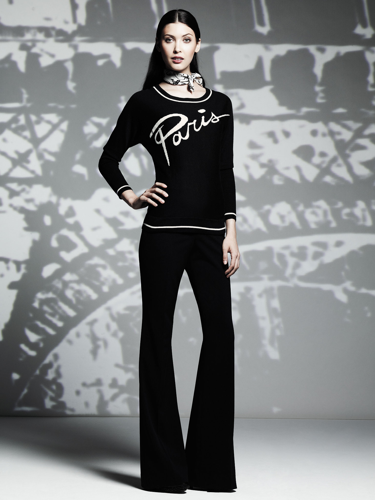 Wide-Neck Paris Pullover Sweater ($58), Flare Trousers ($54) Photo courtesy of Kohl's