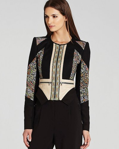 BCBGMAXAZRIA Jacket - Neil Print Blocked Moto