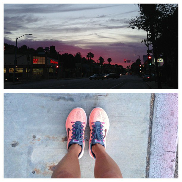 Actress Jamie Chung snapped this beautiful photo of the Los Angeles skyline after finishing an eight-mile run.