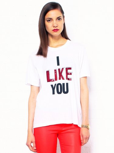 Markus Lupfer I Like You Embroidered Sequin Tee
