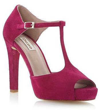 Pink suede darleen peep toe t bar open court shoe