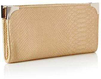 Designer Natural Faux Snakeskin Clutch Bag