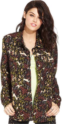 Teen Vogue Juniors Jacket, Rhinestone Camouflage-Print