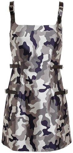 Christopher Kane Camouflage Patterned Silk Dress