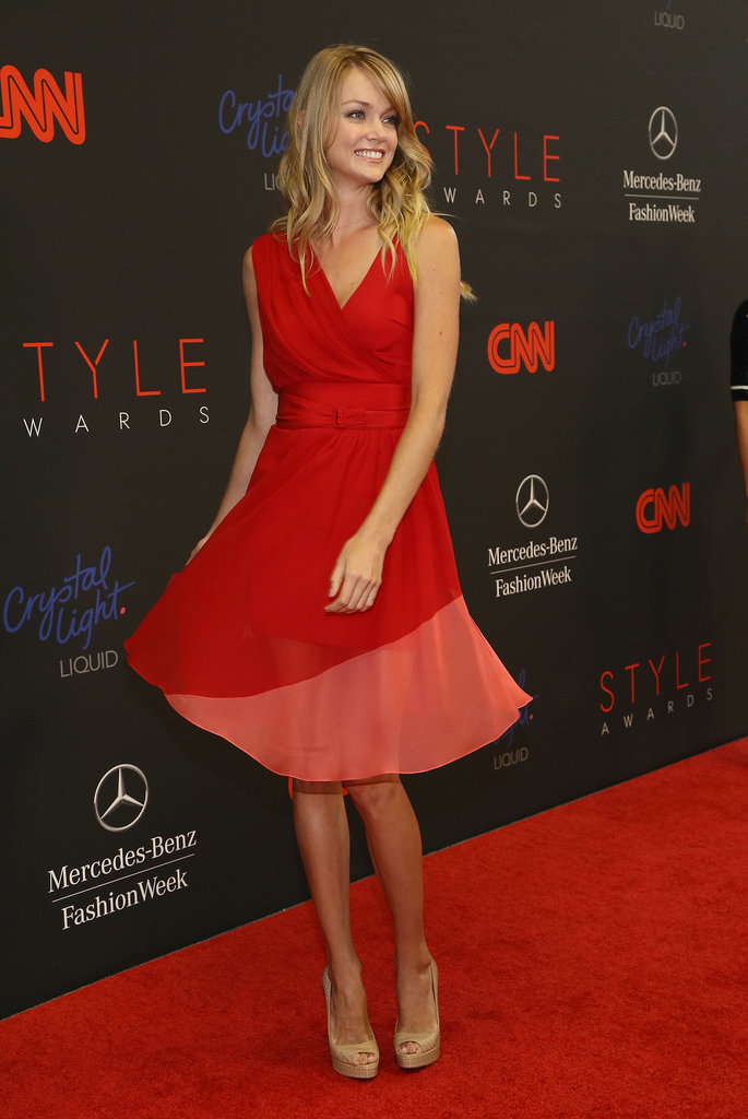 Lindsay Ellingson picked a twirl-worthy colorblock dress by Sophie Theallet for her red carpet moment at the 10th annual Style Awards.