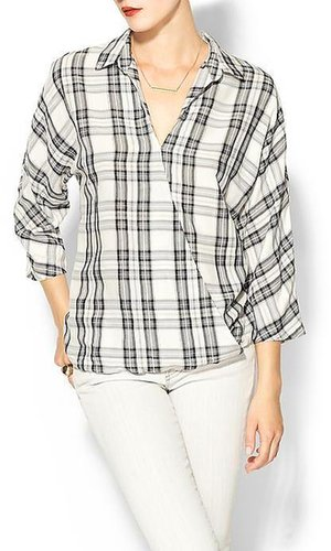 Rhyme Los Angeles Plaid Crossover Blouse