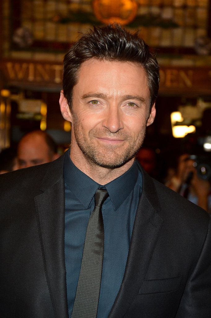 Hugh Jackman stopped for a photo.
