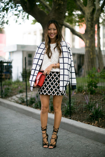 Aimee Song made it all about the prints with geometric pattern mixing — oh, and check out those heels.