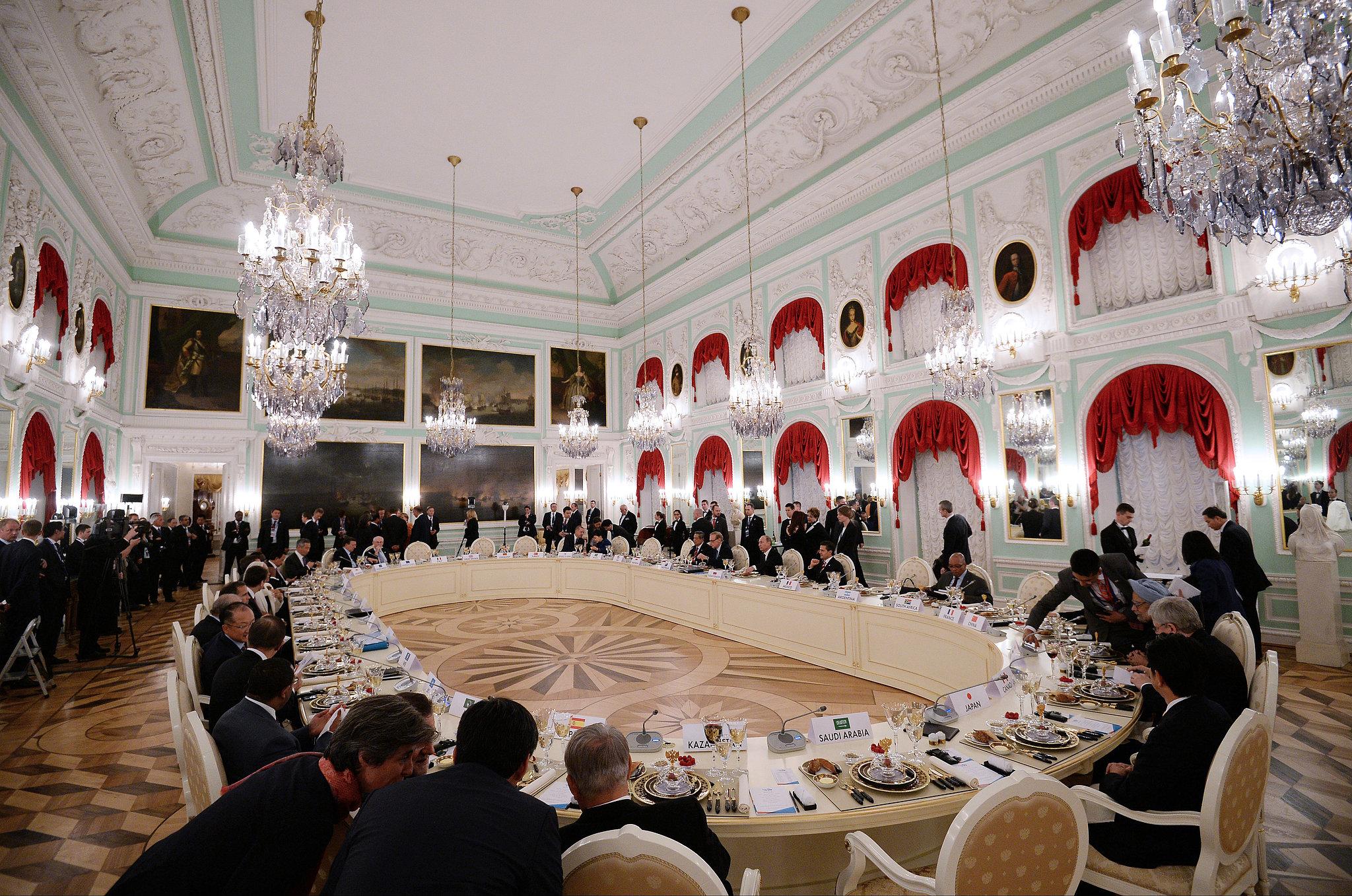 G20 Summit members got to work during their lavish dinner on Thursday.
