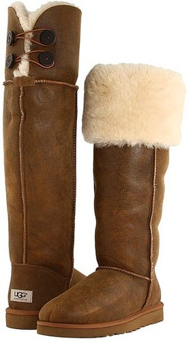 UGG - Over The Knee Bailey Button (Bomber Jacket Chestnut) - Footwear