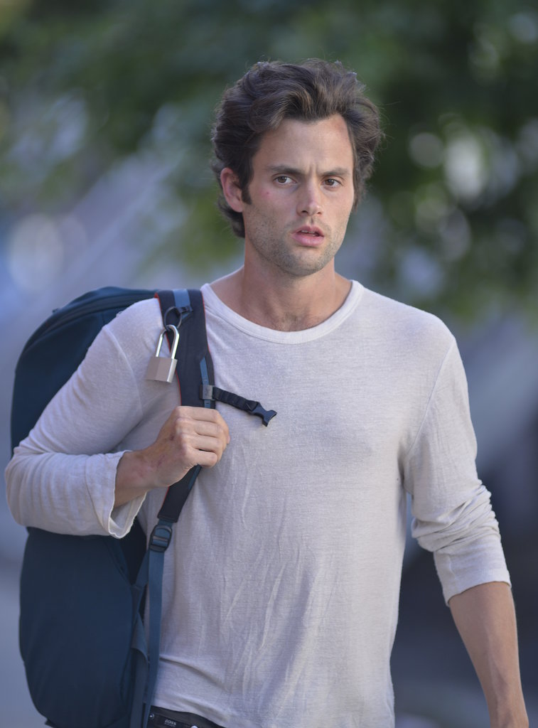 Penn Badgley headed back to the set of Cymbeline in NYC on Thursday.