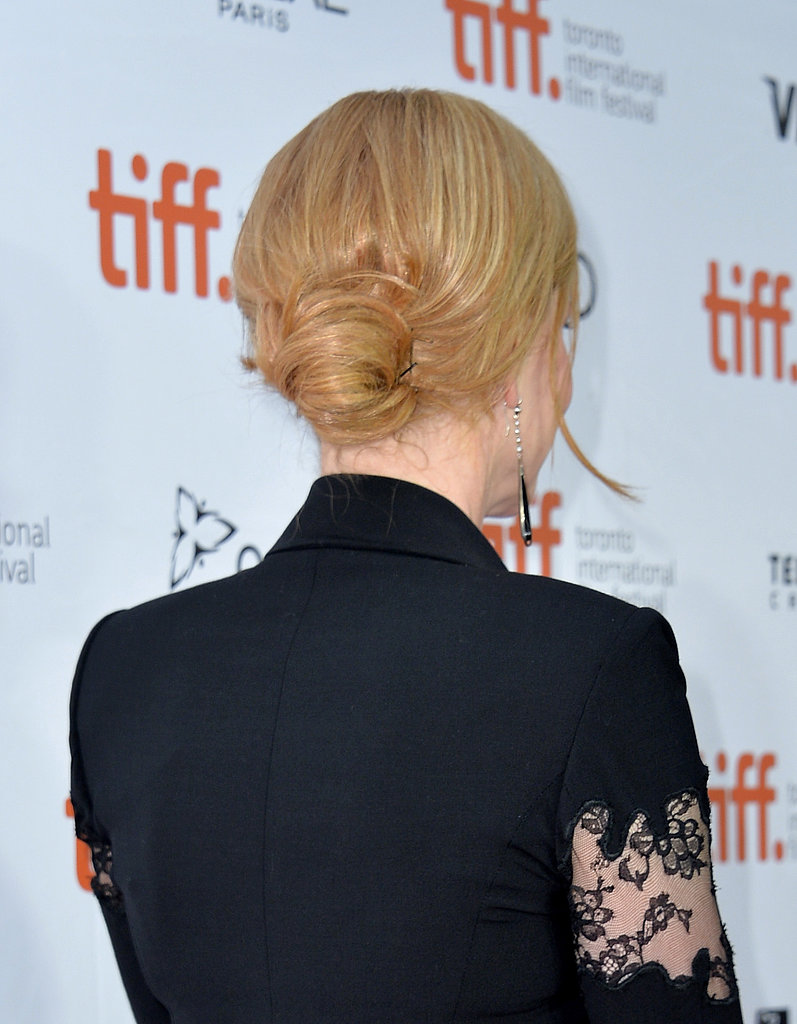 To dress up her look even further, Nicole Kidman wore her strawberry-blond locks into a low bun at the premiere of The Railway Man.