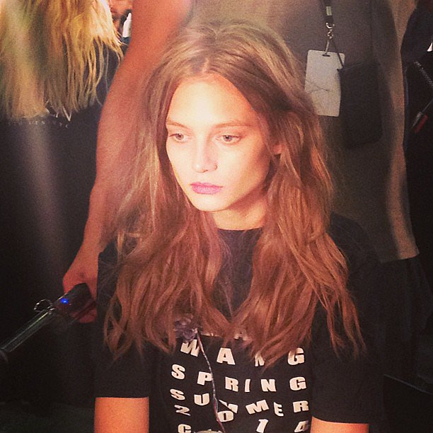 We loved these effortless waves and barely there makeup backstage at Alexander Wang.
