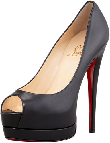 Christian Louboutin Palais Royal Red-Sole Platform Pump, Black