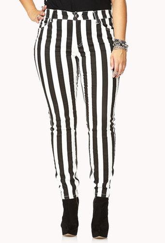 FOREVER 21+ Vibrant Striped Skinny Jeans