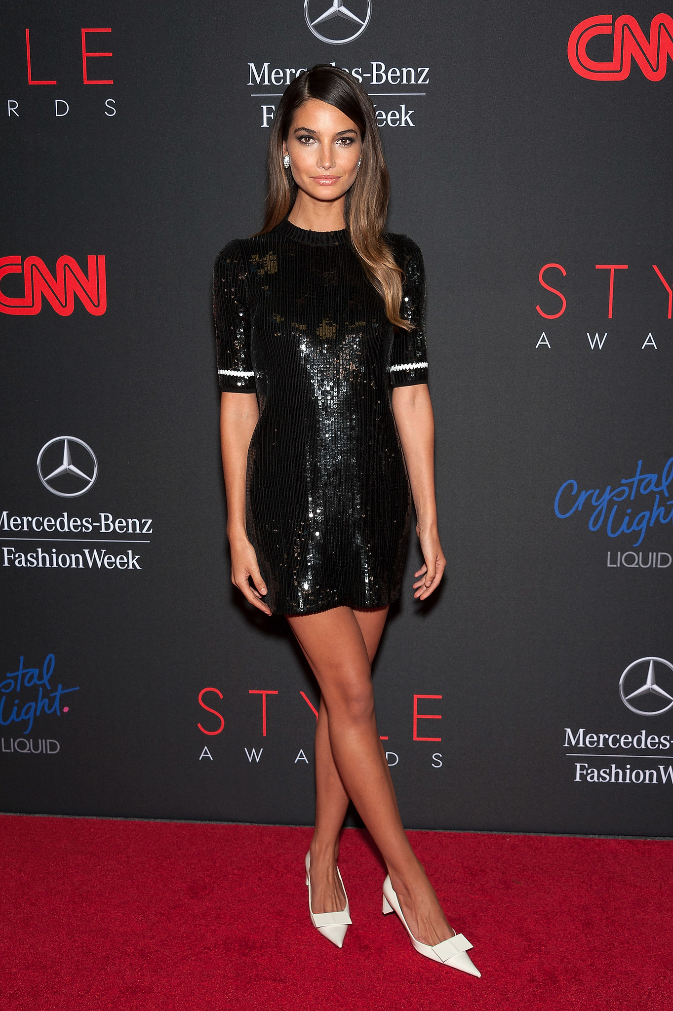 Lily Aldridge dazzled in a sequined Louis Vuitton minidress on the Style Awards red carpet.
