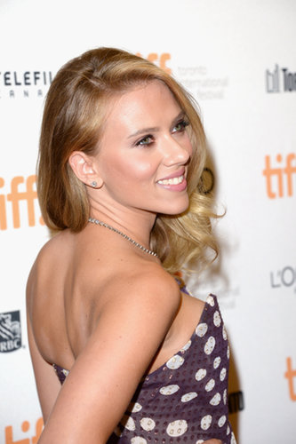 Scarlett Johansson struck an over-the-shoulder pose at the Under the Skin premiere.
