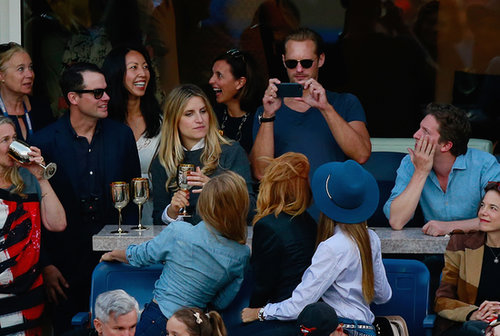Alexander Skarsgard snapped a picture for Jessica Alba and her friends.