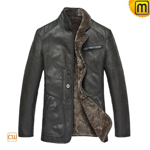 Grey Fur Lined Leather Coat CW819076
