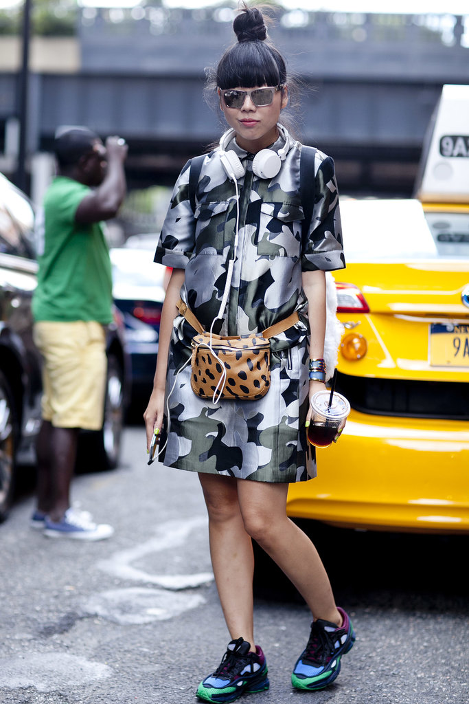 Susie Bubble knows two prints are better than one in camo and a leopard-print bag.