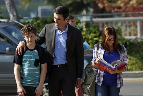 Modern Family Nolan Gould, Ty Burrell, and Ariel Winter on the season premiere of Modern Family.