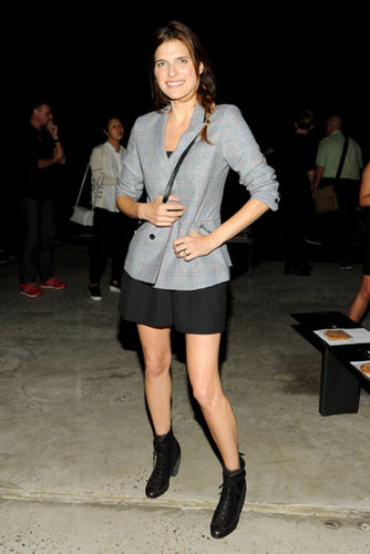 Lake Bell topped her black ensemble with a checkered blazer for a pop of print at Band of Outsiders.