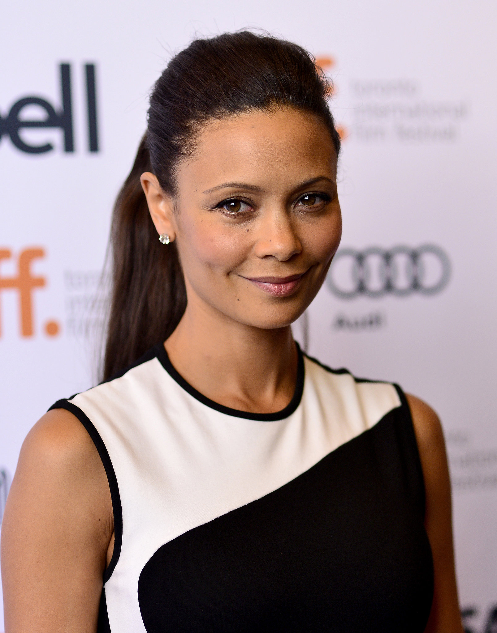 Ponytails can be ultraglamorous, as shown by Thandie Newton at the Half of a Yell
