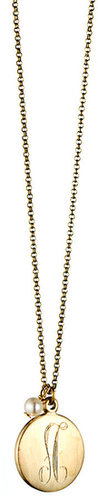 Danielle Stevens Jewelry Engraved Necklace 1 Inch Disk with Pear