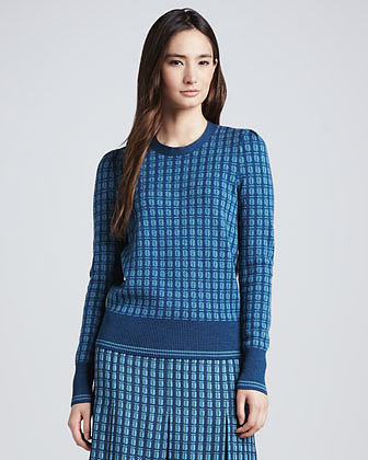 Tory Burch Walda Printed Scarab-Back Sweater
