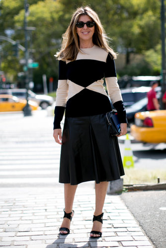 Nina Garcia was a vision in a bold knit.