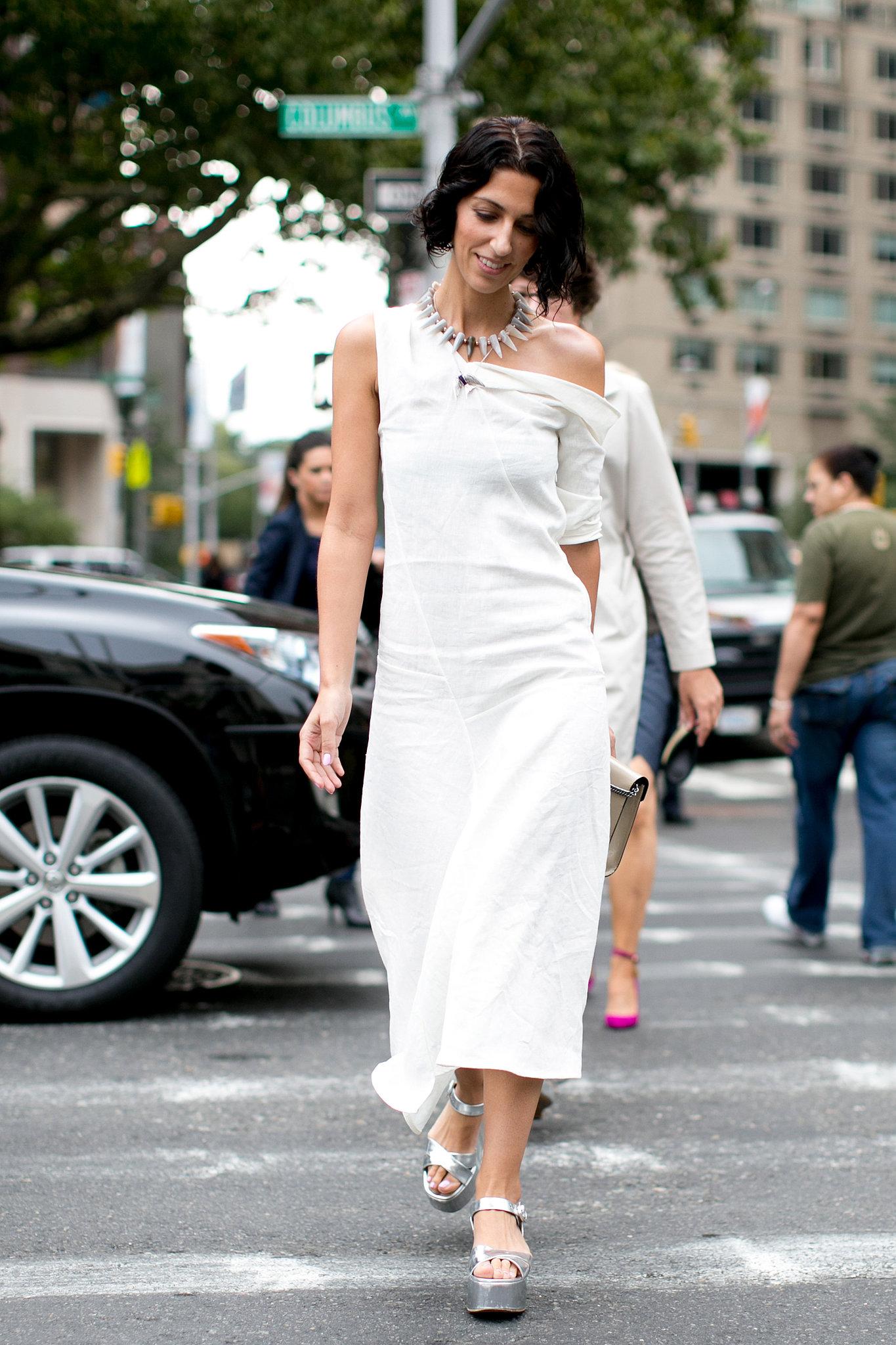 The dress said minimalist, the accessories said otherwise.