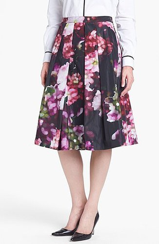 Pink Tartan Floral Print Pleated Midi Skirt