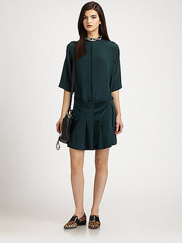 3.1 Phillip Lim Silk Beaded-Neck Pleated Shirtdress