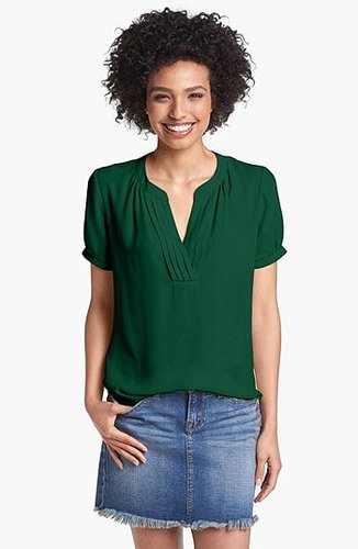 Pleione Pleated Split Neck Blouse