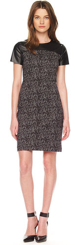 Michael Kors Printed Leather-Top Dress