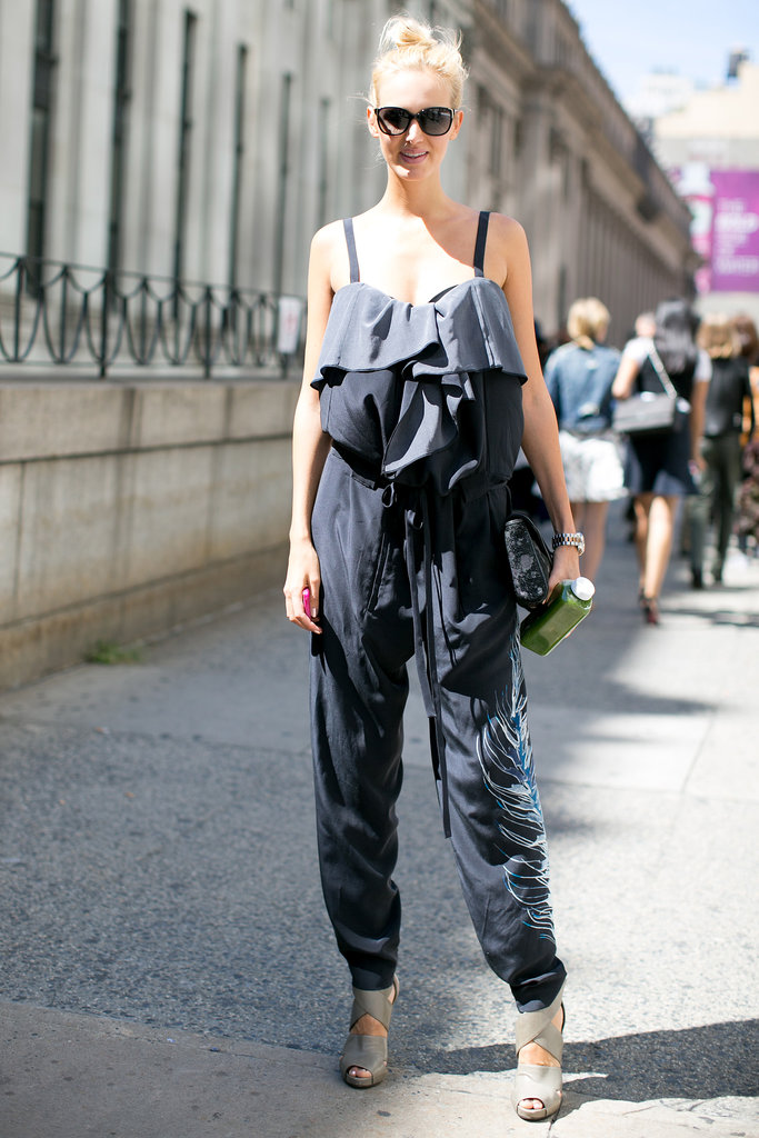A great jumpsuit and equally awesome heels.