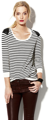 Faux Leather Striped Pullover