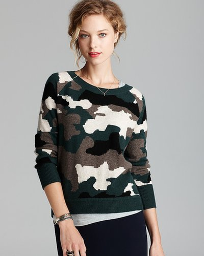 Aqua Cashmere Sweater - Camo Intarsia High Low