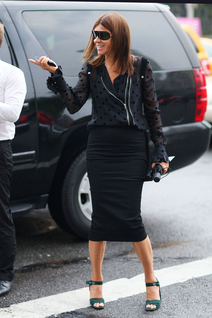 Carine Roitfeld worked her signature edgy-cum-posh mix.