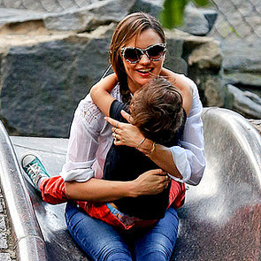 Miranda Kerr and Flynn Bloom at a Playground in NYC