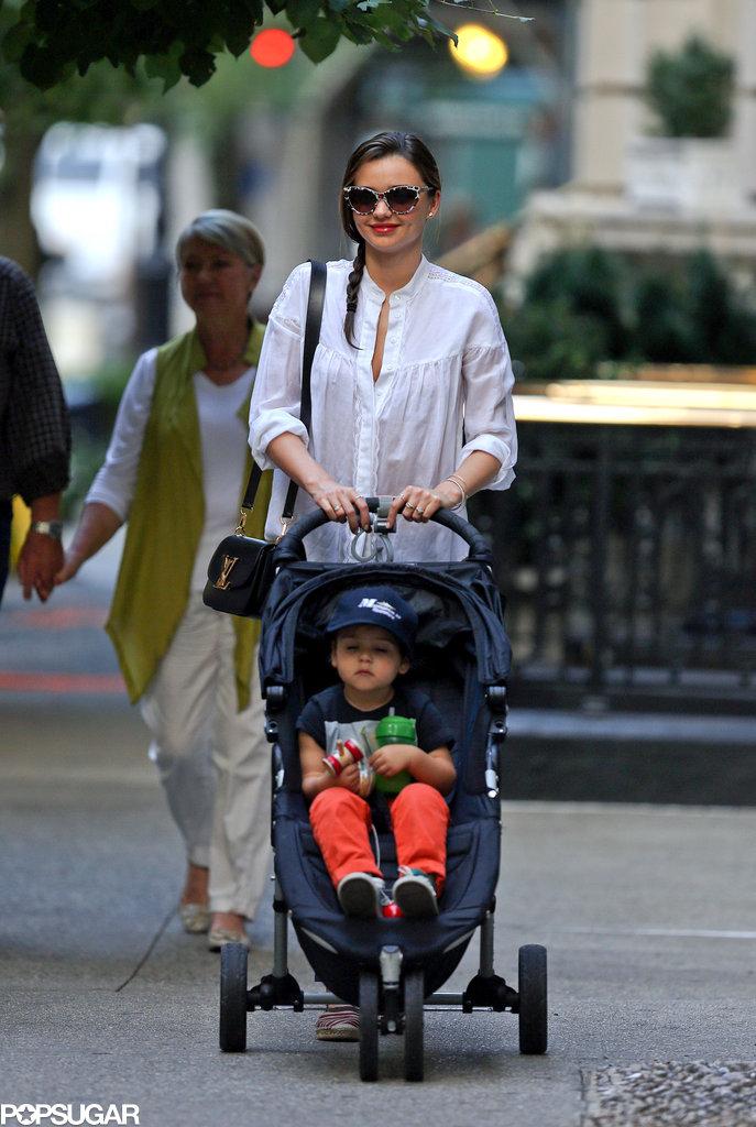 Miranda Kerr pushed Flynn in his stroller in NYC.